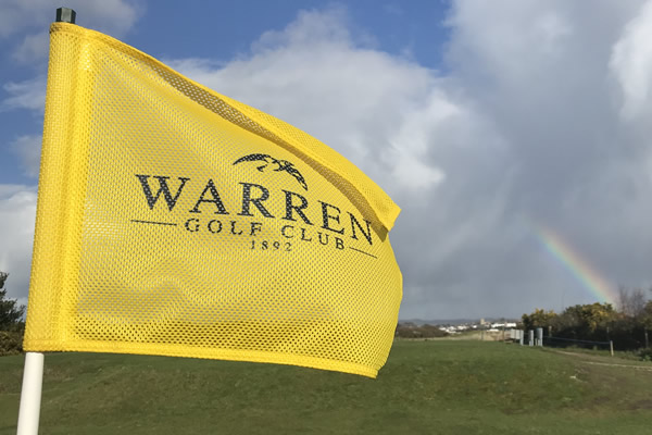 Warren pin flag with rainbow