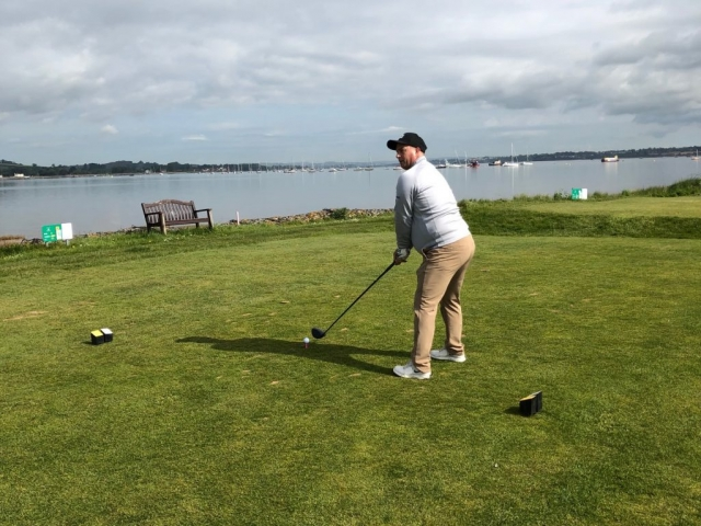 On the 15th tee with Exe estuary behind