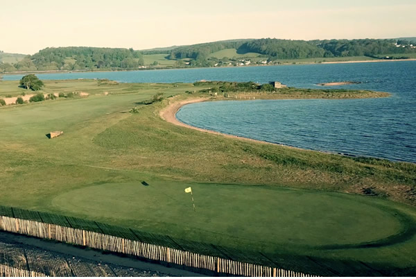 6th green with lagoon